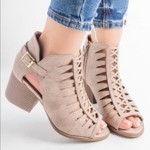 Tan, cut out booties